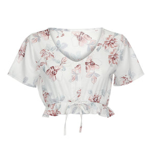 Chiffon Flower Print Crop Top