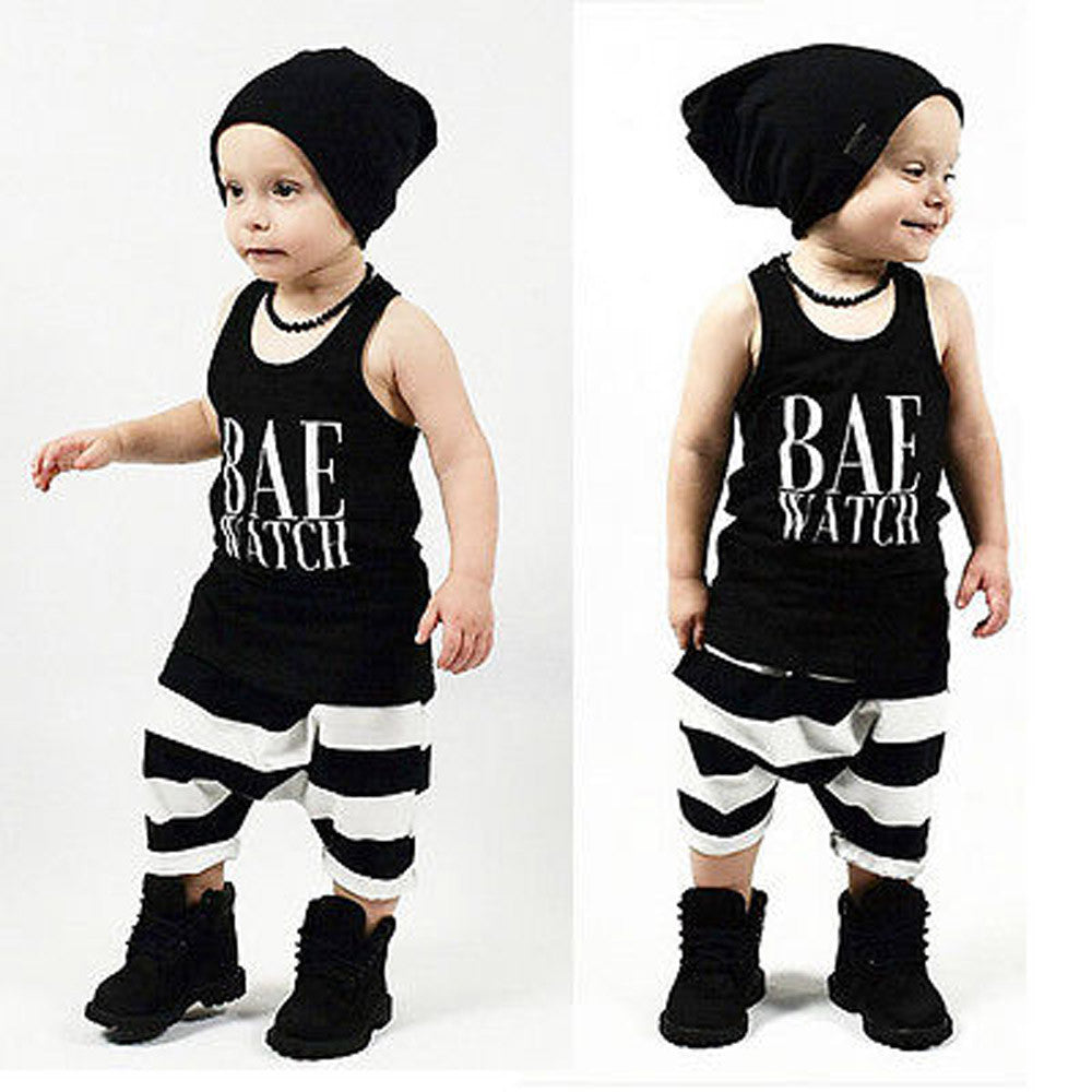 Toddler Baby Singlet + Stripe Pants Outfit\