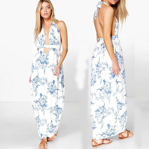 White & Blue China print Plunge Neckline Dress