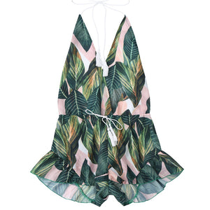 Halterneck Backless Short Playsuit With Drawstring