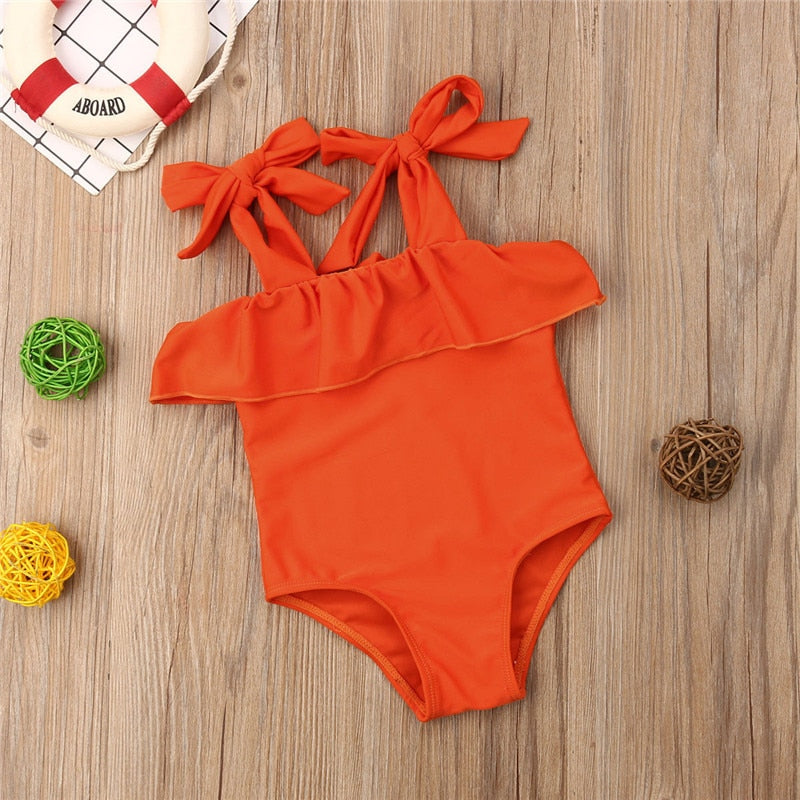 Girls Frilled One Piece Swimsuit