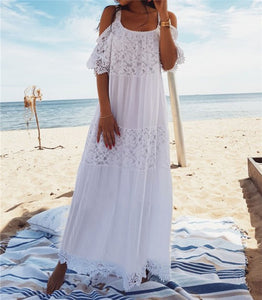 White Lace Boho Cold Shoulder Beach Dress