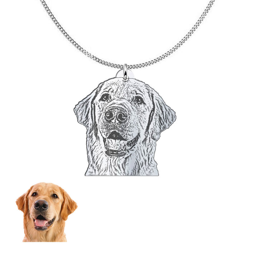 Custom silver necklace of your dog
