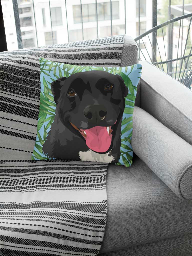 Dog face on custom couch pillow