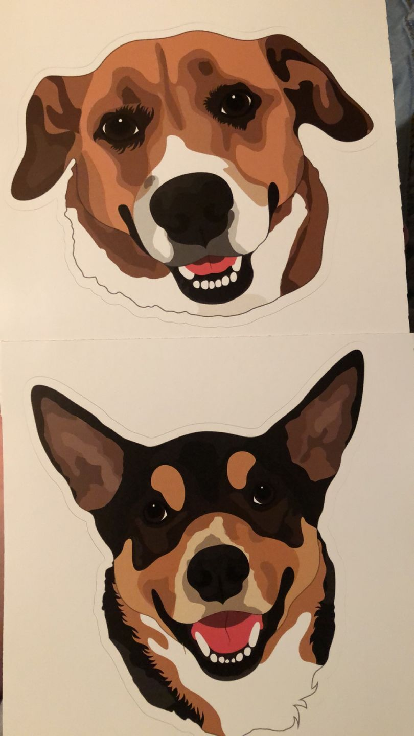 Custom artwork dog stickers