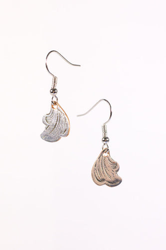 Silverplate serving tray earrings.