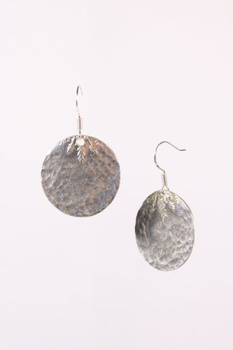 Hammered Circular Sterling Silver Earrings