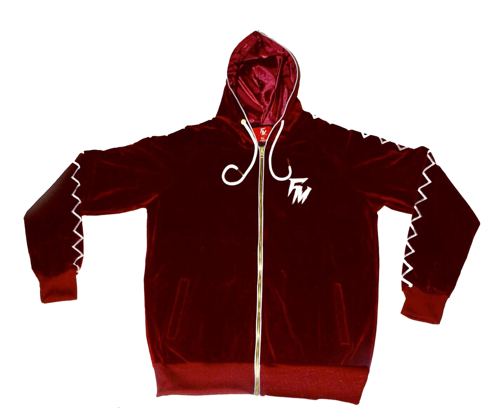 Burgundy Velour Tracksuit Top