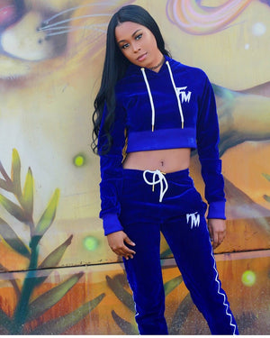 Women Blue Velour Tracksuit Bottom