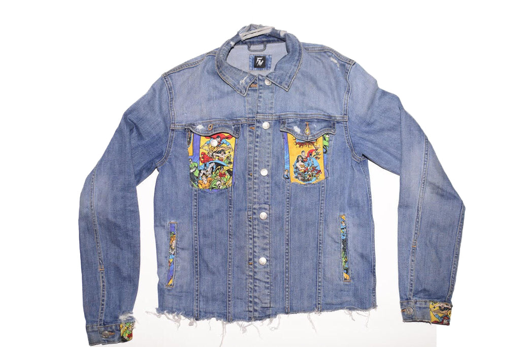 Womens Comic Denim Jacket-Medium Wash