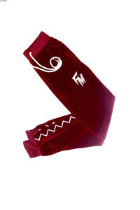 Men Burgundy Velour Tracksuit Bottom