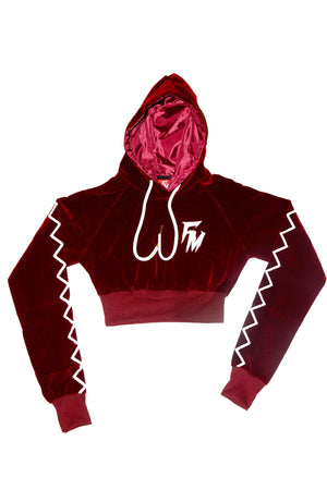 Women Burgundy Velour Tracksuit Crop Top