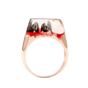 Lateefah Unique Clear Resin Ring Miniature Great Mountain in Cloud Landscape Handmade Women Art Jewelry Ring Female Bague Femme