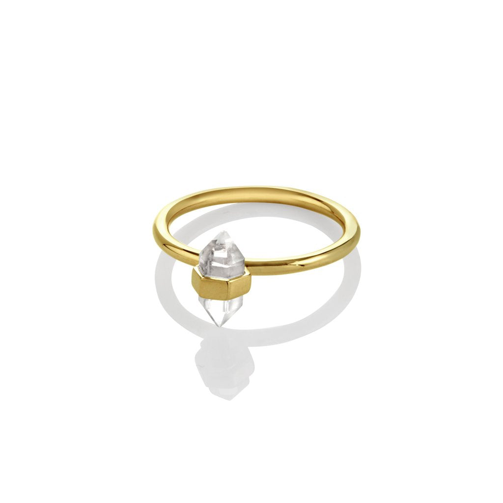 Krystle Knight Purity Mini Crystal Ring - Brass