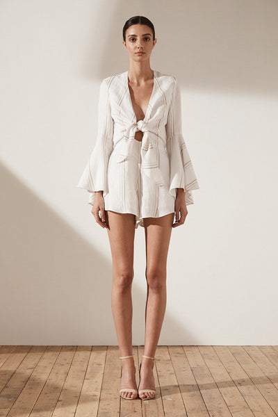Shona Joy Alba Flared Sleeve Tie Front Playsuit