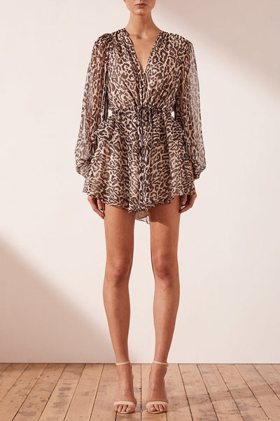 Shona Joy Mariposa Drawstring Mini Dress