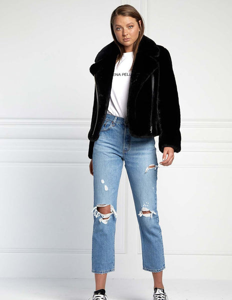 Ena Pelly Classic Faux Fur Jacket - Black/Silver