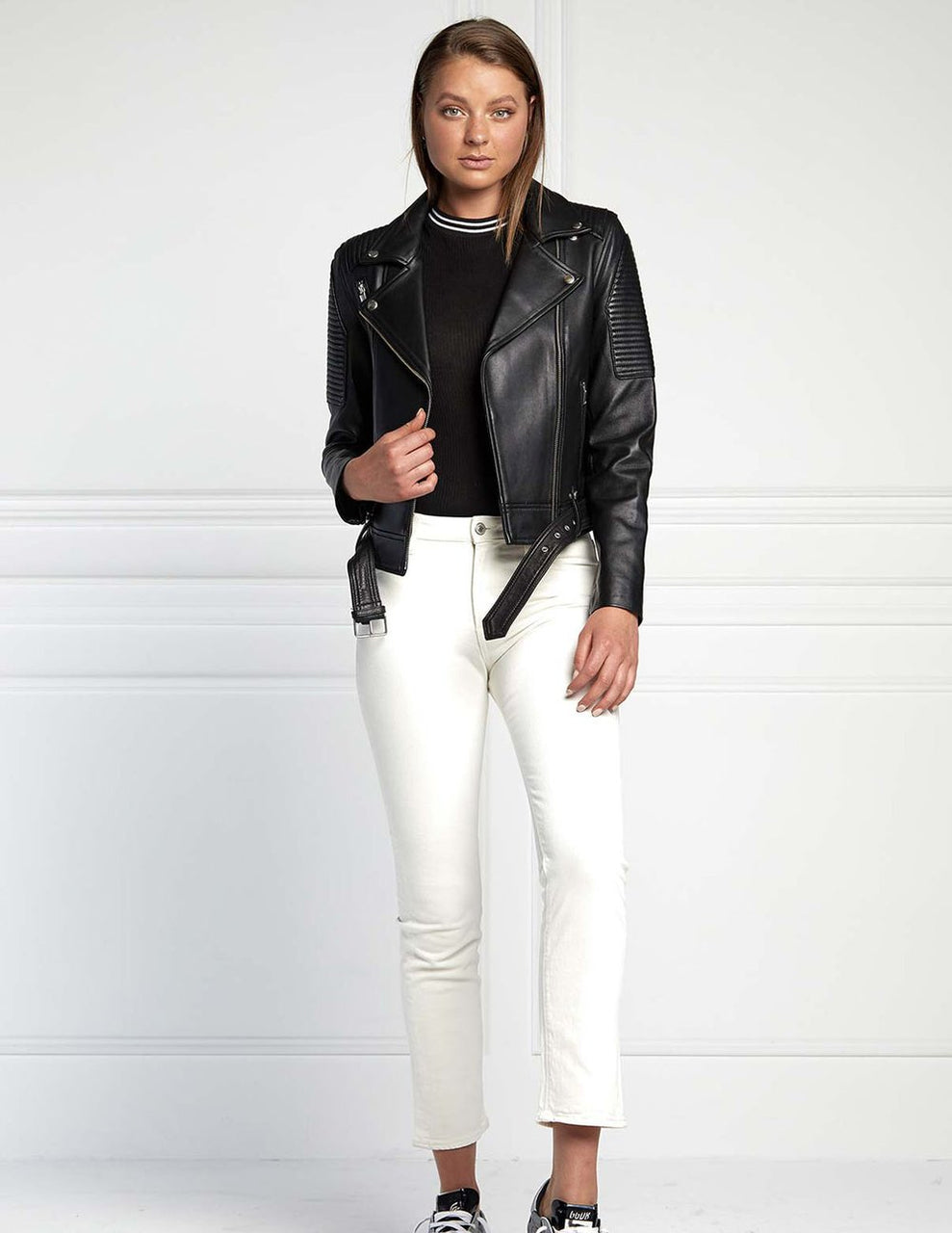 Ena Pelly Classic Biker Leather Jacket- Black/Silver