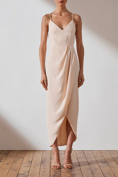 Shona Joy Core Cocktail Draped Dress - Nude
