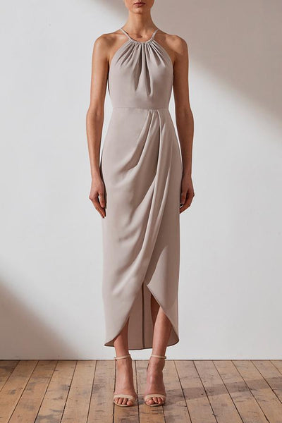 Shona Joy CORE Ruched High Neck Dress -Oyster