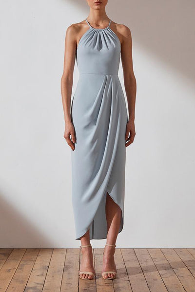 Shona Joy CORE Ruched High Neck Dress - Powder Blue