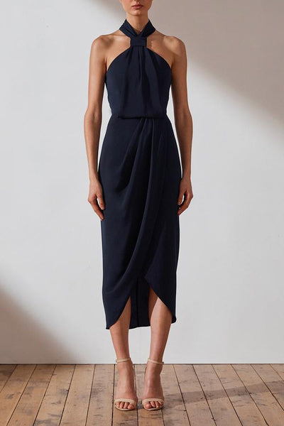 Shona Joy Core Knot Draped Dress - Navy