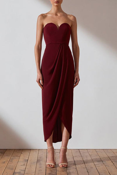Shona Joy Core 'U' Bustier Dress - Burgundy