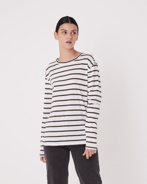 Assembly Label Bay Long Sleeve Tee Moss Stripe