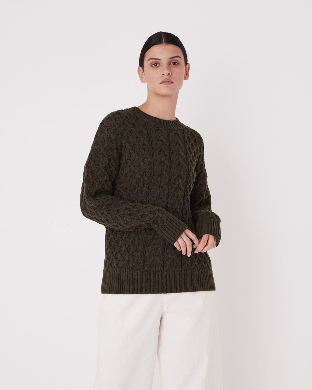 Assembly Label Cable Knit - Moss