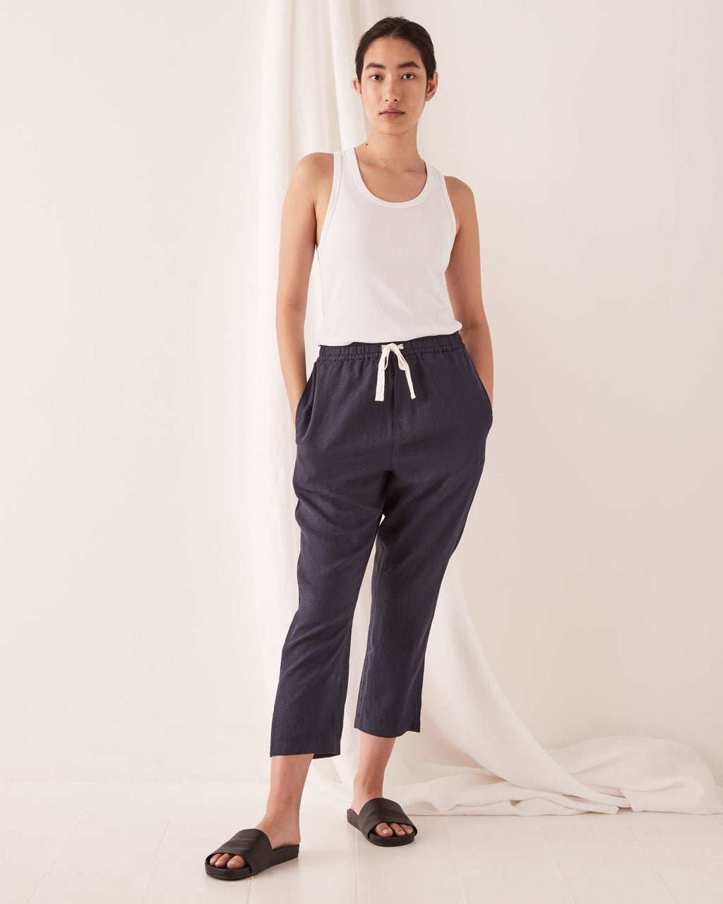 Assembly Label Anya Linen Pants - True Navy