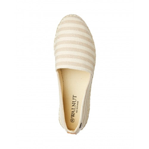 Walnut Georgie Espadrille - Taupe Stripe