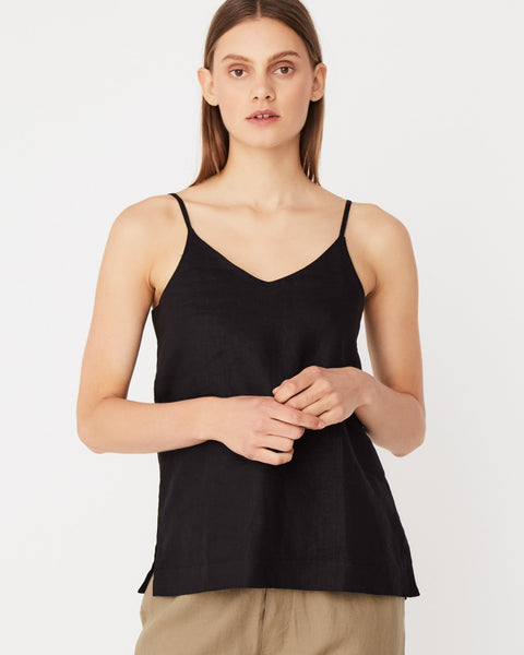 Assembly Label Linen Slip Top - Black