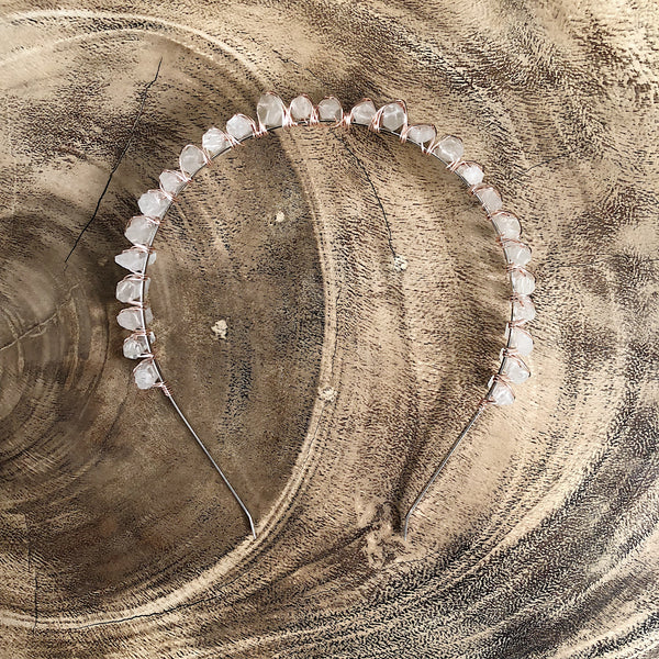 Crystal Crown Flat Headband - Rose Gold
