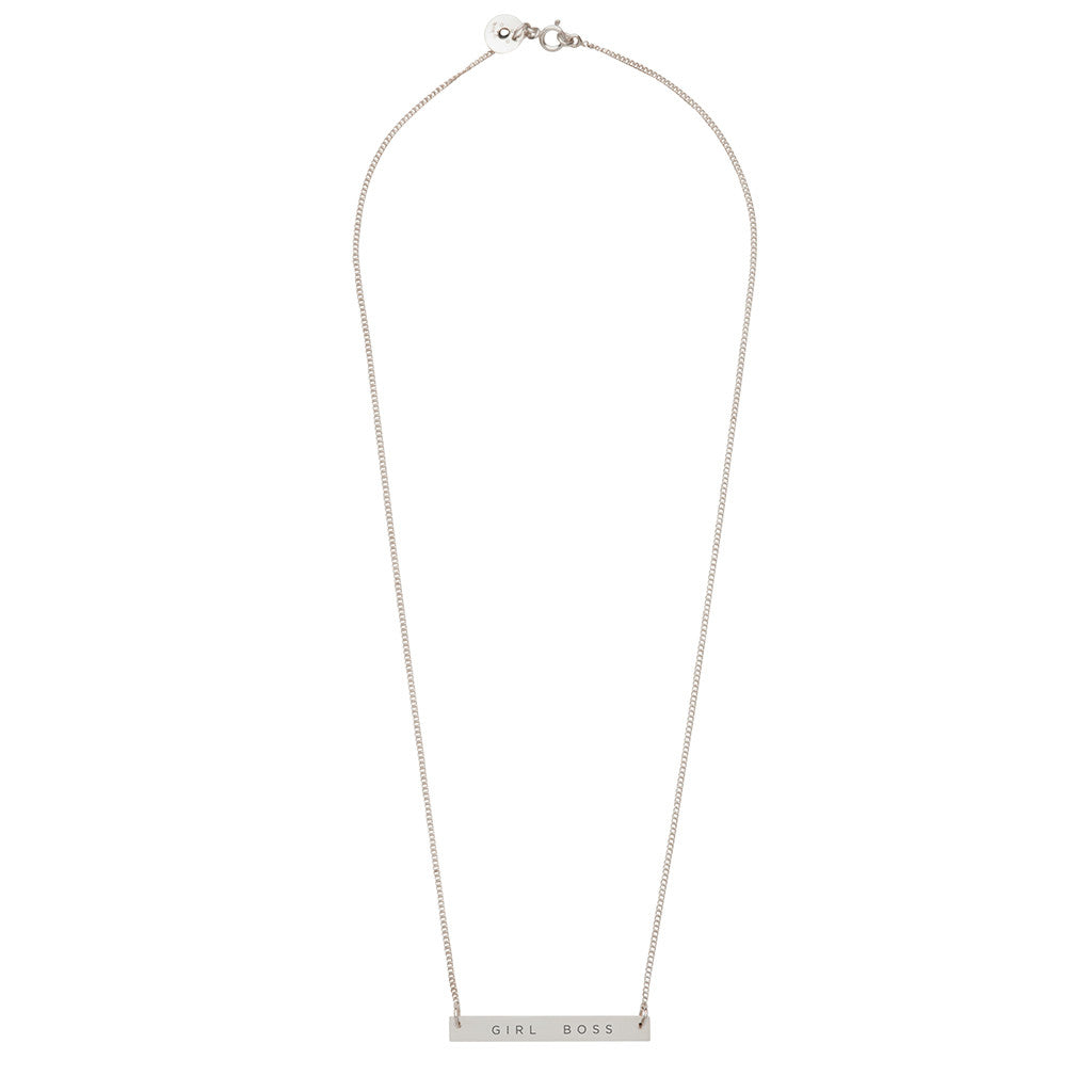 Damselfly Bar Pendant Necklace - Girl Boss