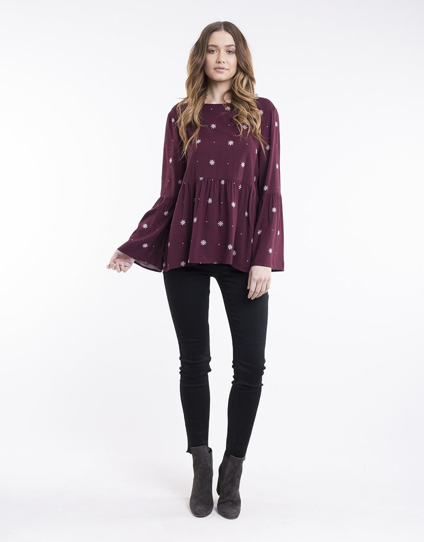 All About Eve Gabriela Top - Burgandy Stardust