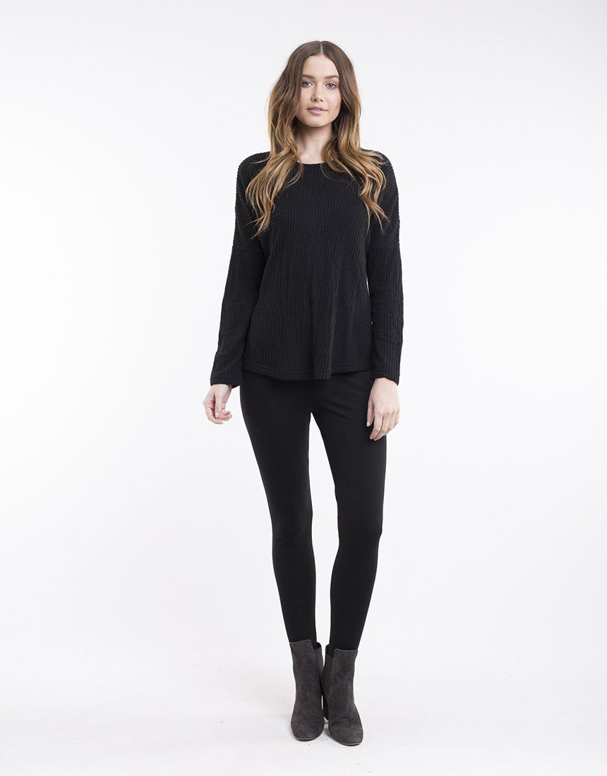 All About Eve Waffle L/S Top - Black