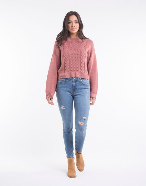 All About Eve Olivia Cable Knit Dusty Rose