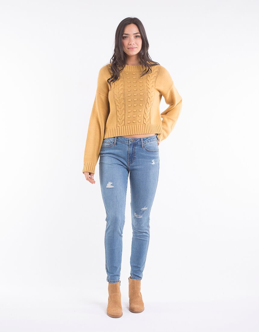 All About Eve Olivia Cable Knit Mustard
