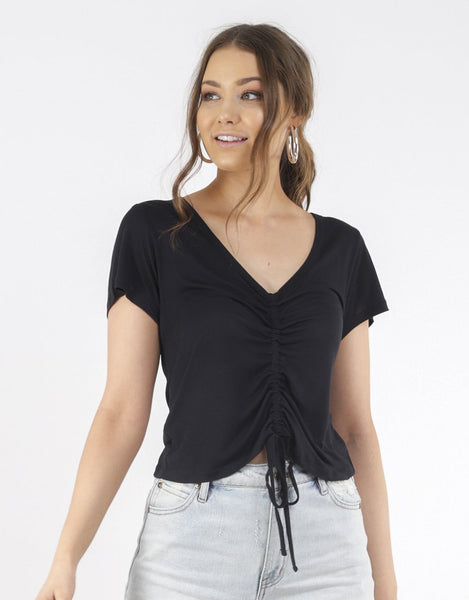 All About Eve Amalia Ruched Tee - Black
