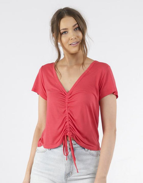 All About Eve Amalia Ruched Tee - Red
