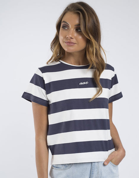 All About Eve Verge S/S Tee - Navy Stripe