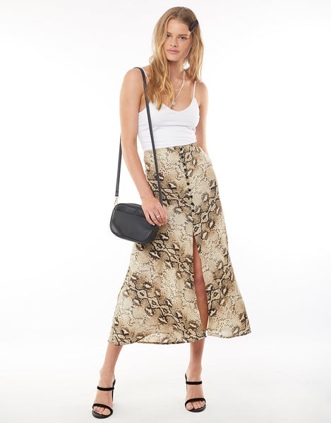 All About Eve Snake Skin Midi Skirt