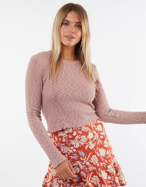 All About Eve Maya Long Sleeve Tee - Misty Rose