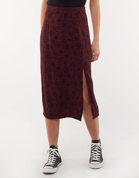 All About Eve Venom Split Midi Skirt - Abstract Snake Print