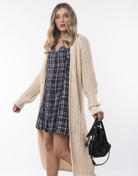All About Eve Comfy Longline Cardi- Beige