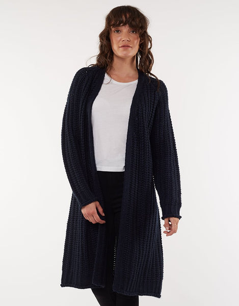 All About Eve Comfy Longline Cardi- Navy