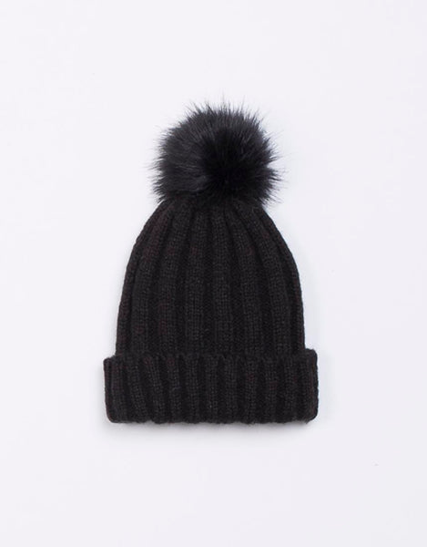 Jorge Break Up Pom Pom Beanie - Black