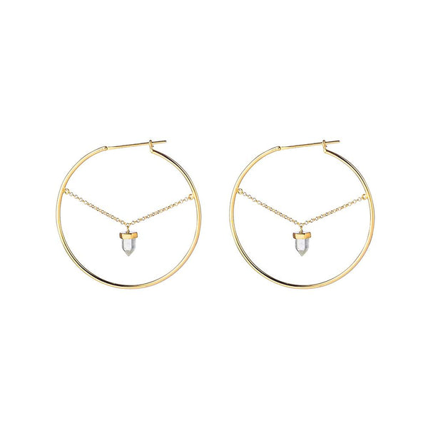Krystle Knight Summer Rain Chain Hoops - Gold