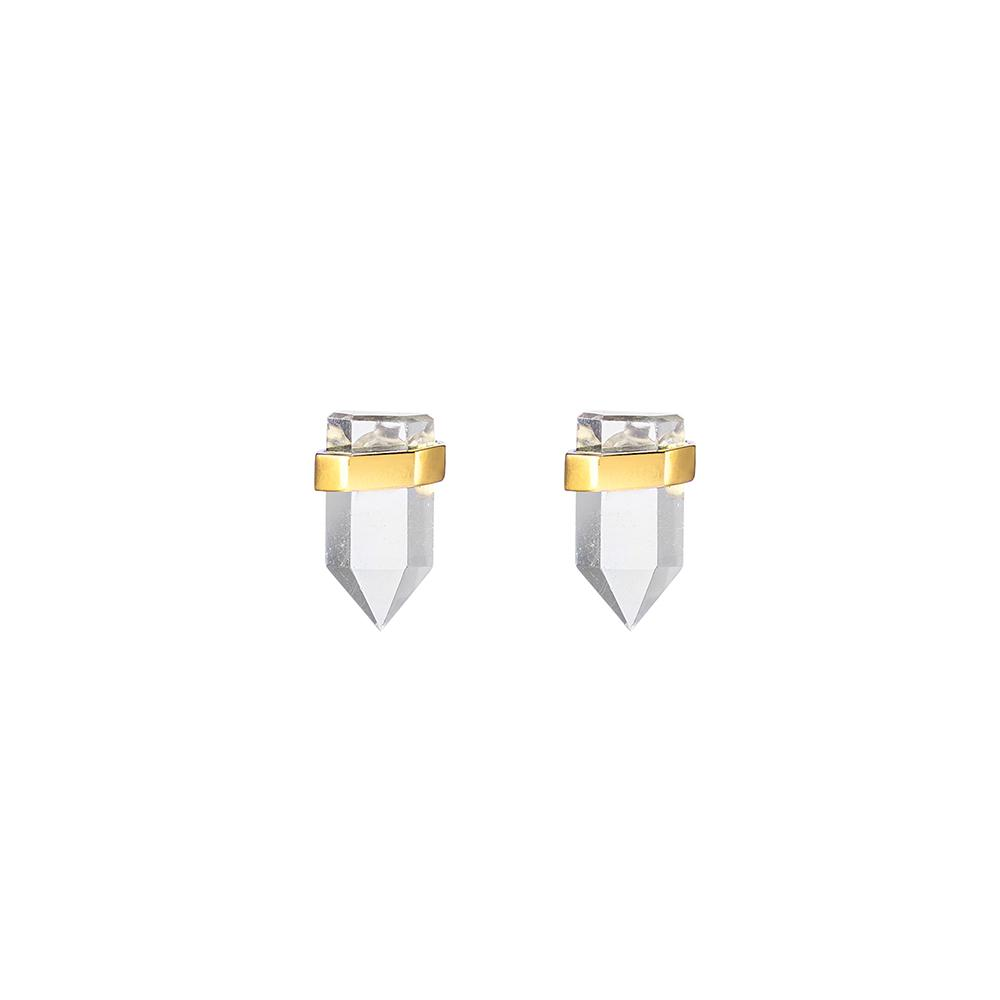 Krystle Knight Natural Sunlight Quartz Studs - Gold