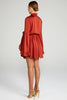 Shona Joy Anna Tulip Sleeve Drawstring Mini Dress - Burnt Red